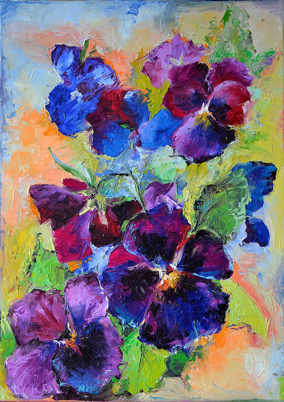 Pansy flowers spring flowers oil painting poster by soos roxana pansy poster featuring the painting pansy flowers spring flowers oil painting by soos roxana mightylinksfo