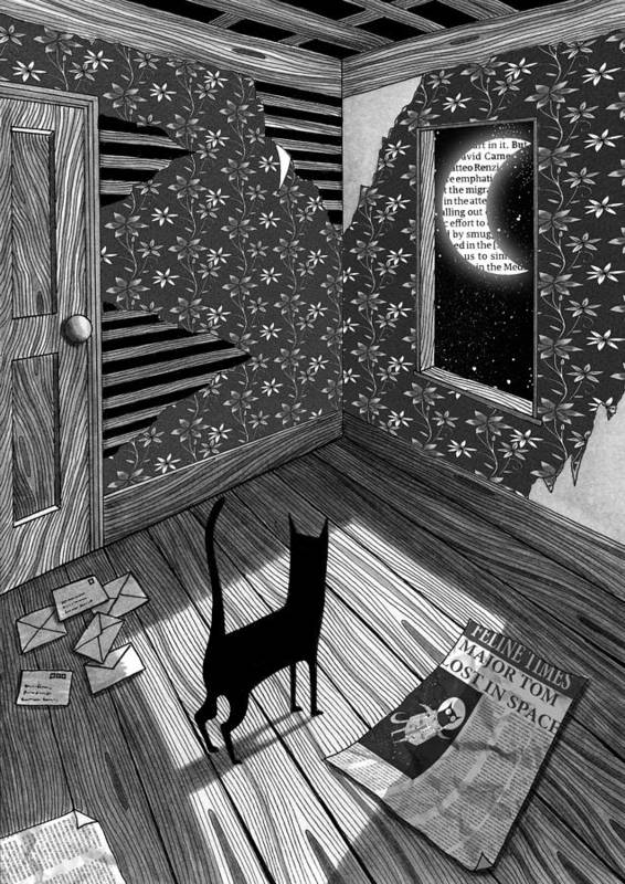 Moon Poster featuring the drawing Paper Moon by Andrew Hitchen