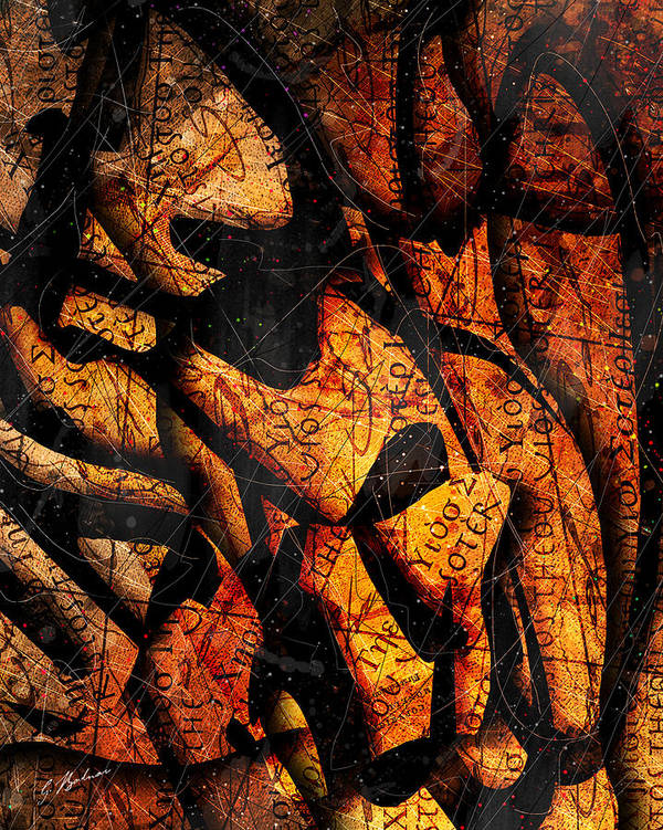 Abstract Poster featuring the digital art Papyrus by Gary Bodnar