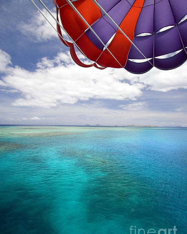Adrenaline Poster featuring the photograph Parasail Over Fiji by Dave Fleetham - Printscapes