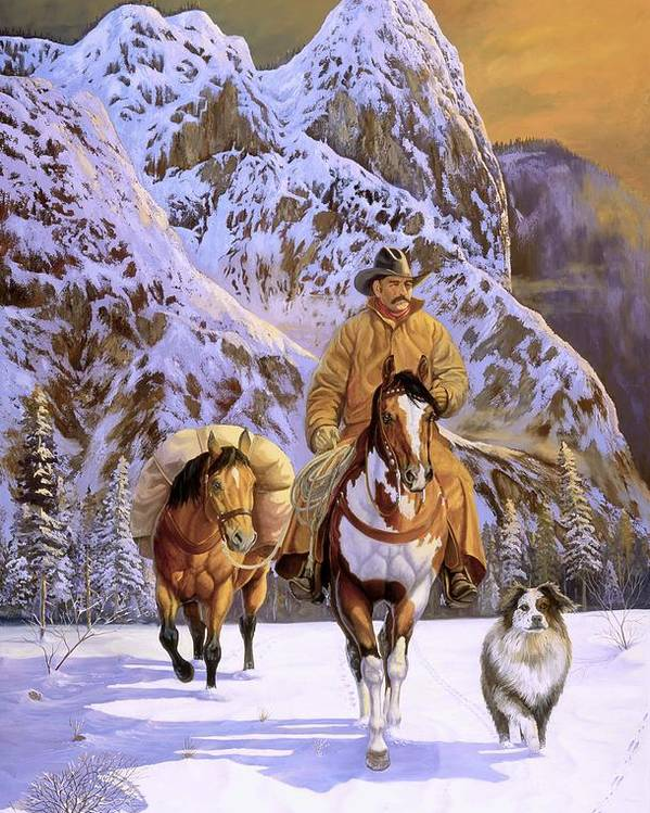 Cowboy Poster featuring the painting Pardners by Howard Dubois
