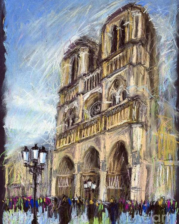 Cityscape Poster featuring the painting Paris Notre-dame De Paris by Yuriy Shevchuk