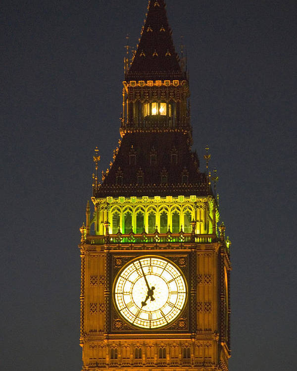 Parlkiament Poster featuring the photograph Parliament Tower At Night by Charles Ridgway