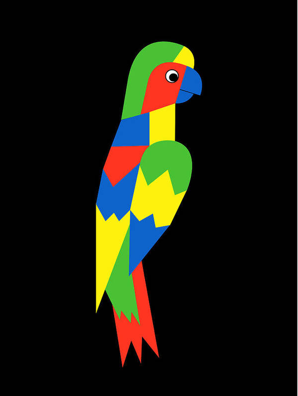 Parrot Poster featuring the digital art Parrot by Asbjorn Lonvig