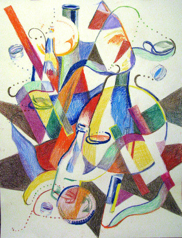 Cubism Poster featuring the painting Party Bottles by Art Nomad Sandra Hansen