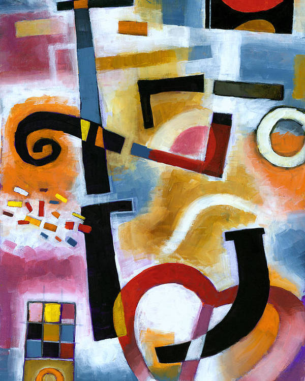 Abstract Poster featuring the painting Party In The Kitchen by Douglas Simonson