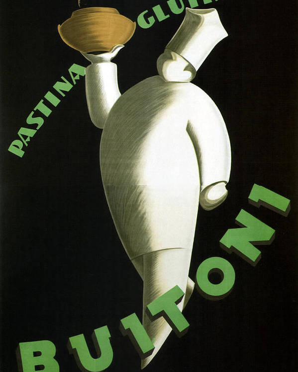 Pastina Glutinata Buitoni - Chef with a Steaming Bowl - Vintage Advertising Poster by Studio Grafiikka