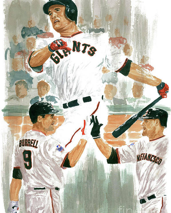 Pat Burrell Poster featuring the painting Pat Burrell Study 2 by George Brooks