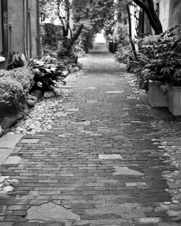 Patchwork Pathway Charleston Downtown South Carolina Ally Way Black White Dustin Ryan Poster featuring the photograph Patchwork Pathway by Dustin K Ryan
