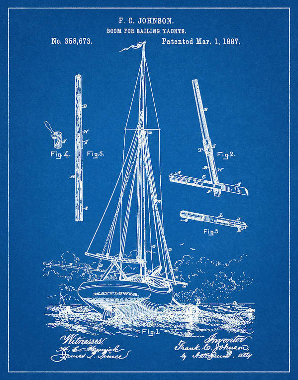 Patent 1887 sailing yacht boom for yacht blueprint poster by yacht patent boat tall ship sailing vessel nautical wall art mayflower malvernweather Gallery