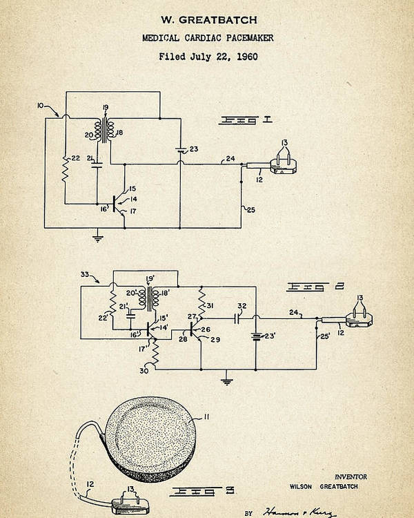 Patent Drawing For The 1960 Medical Cardiac Pacemaker By W ...