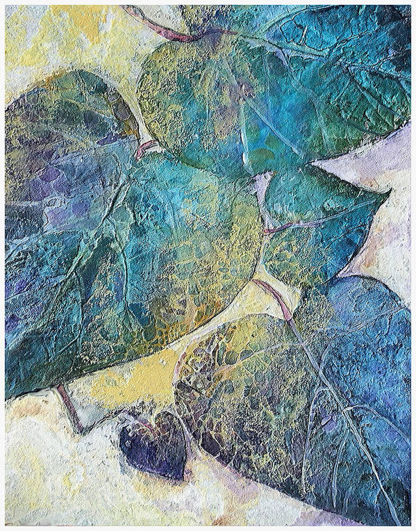 Acrylic Fluids And Inks With High Gloss Resin Finish Of Leaves And Early Morning Sunlight Poster featuring the painting Path In Life by Mary Sonya Conti