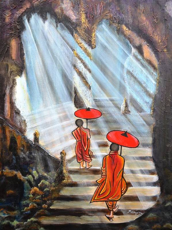 Buddha Poster featuring the painting Path to enlightenment by Manjiri Kanvinde