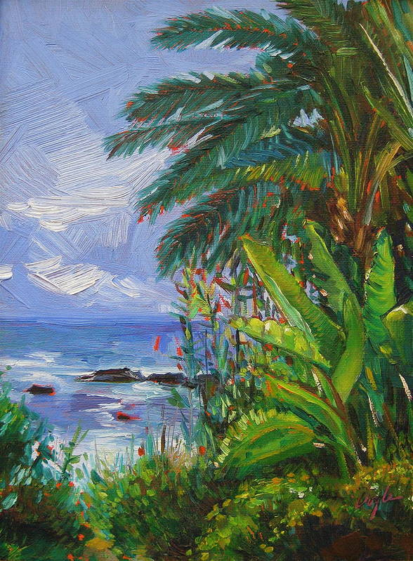Spider Plant Poster featuring the painting Path To The Sea by Karen Doyle
