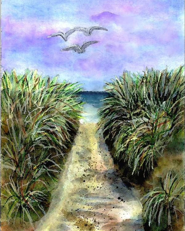 Beach Poster featuring the painting Pathway To The Shore by Dina Sierra