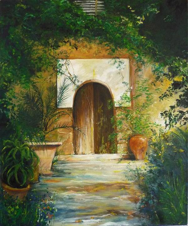Farmhouse Courtyard Poster featuring the painting Patio Mallorquin by Lizzy Forrester
