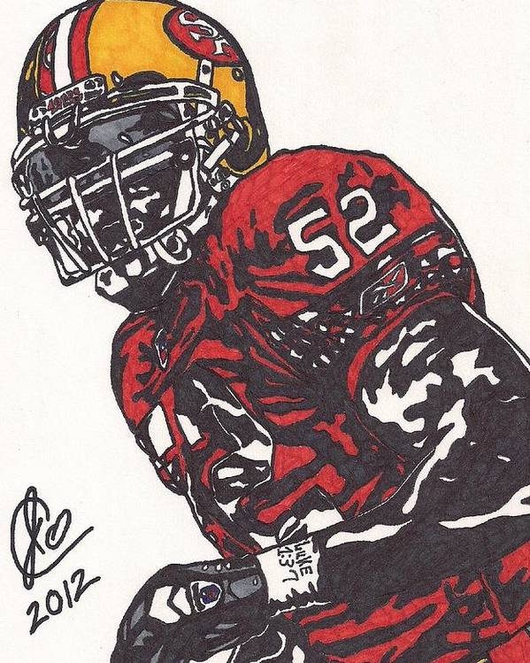 Football Poster featuring the drawing Patrick Willis by Jeremiah Colley