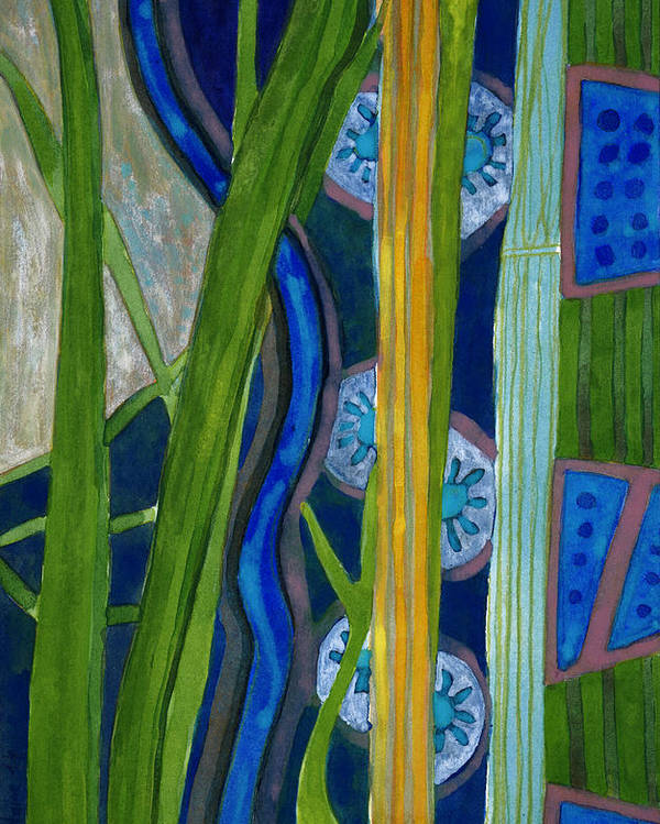 Blue Poster featuring the painting Pattern Out Of Grass And Stems And More by Heidi Capitaine