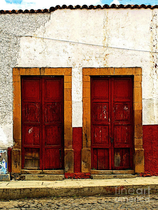 Patzcuaro Poster featuring the photograph Patzcuaro Doors by Mexicolors Art Photography