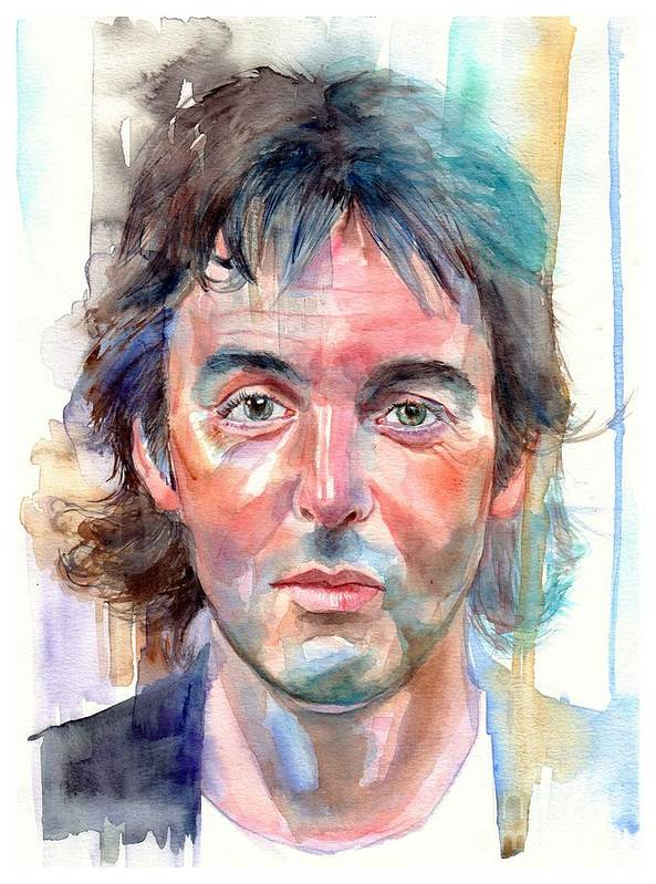 Paul Poster featuring the painting Paul McCartney young portrait by Suzann Sines