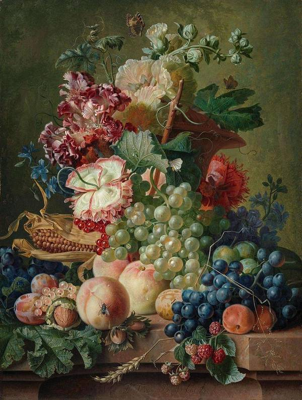Nature Poster featuring the painting Paulus Theodorus Van Brussel - Still Life Of Flowers And Fruit On A Stone Ledge, by Artistic Paulus Theodorus van Brussel