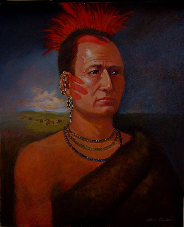 American Indian Plains In Headdress Poster featuring the painting Pawnee Chief Around 1820 by Alan Carlson