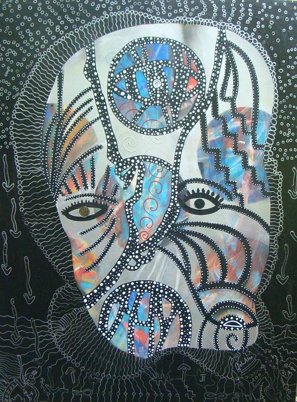 Portraits Poster featuring the mixed media Pay Attention To The Ice Man by Alice Schwager