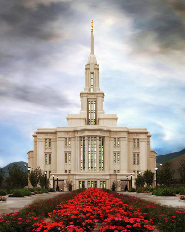 Payson Poster featuring the painting Payson Temple #3 by Brent Borup
