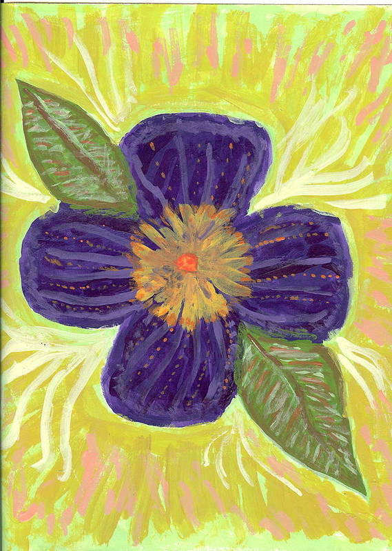 Flower Poster featuring the painting Pea In Pod by Laura Lillo