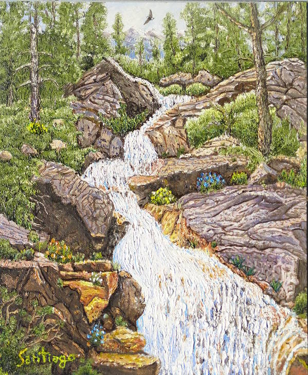 Waterfall Poster featuring the painting Peace In The Sierras by Santiago Chavez