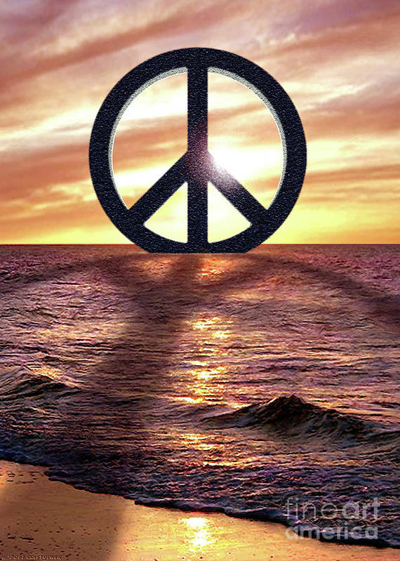 Peace On The Shoreline Poster featuring the digital art Peace On The Shoreline by Cristophers Dream Artistry