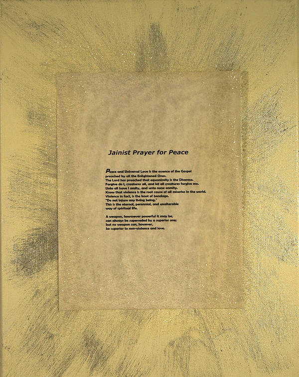 Peace Poster featuring the painting Peace Prayers - Jainist Prayer For Peace by Emerald GreenForest