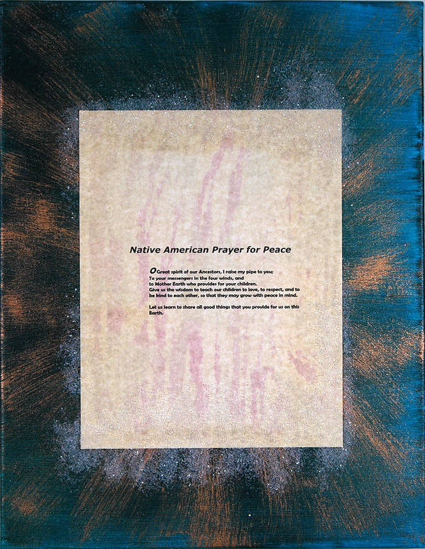 Peace Poster featuring the painting Peace Prayers - Native American Prayer For Peace by Emerald GreenForest