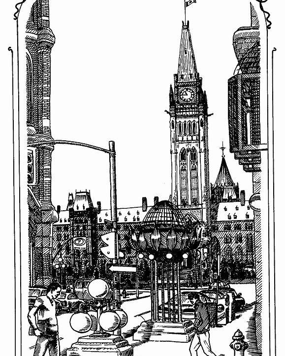 Cityscape Poster featuring the mixed media Peace Tower Parliament Hill Ottawa 1995 by John Cullen