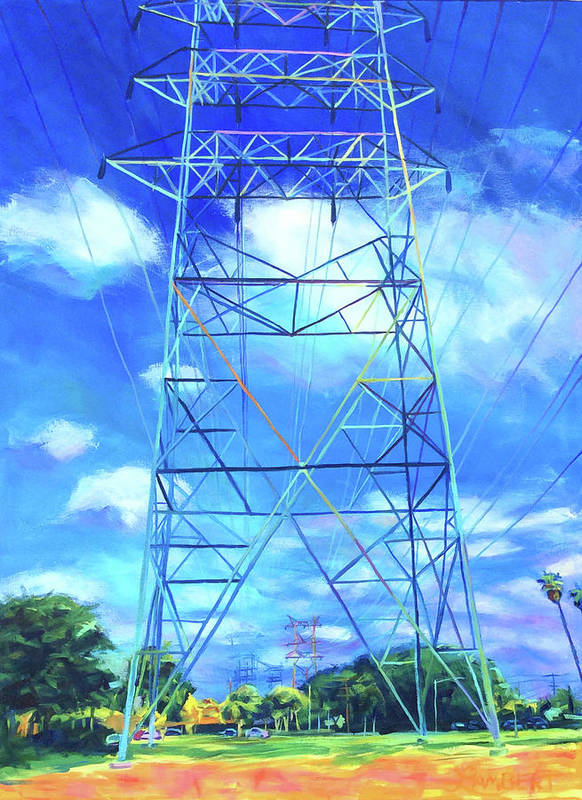 Power Tower Poster featuring the painting Peaceful by Bonnie Lambert