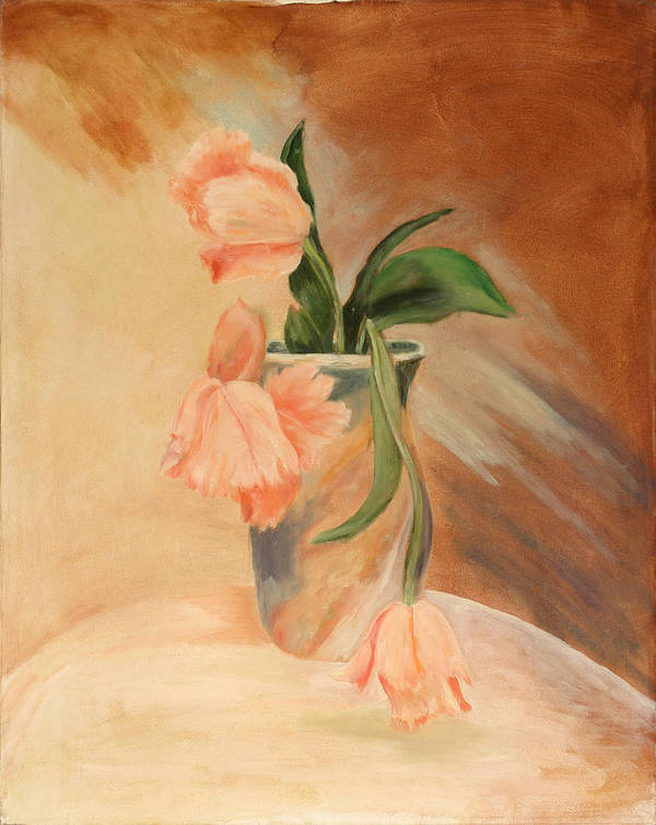 Floral Still Life Poster featuring the painting Peach Tulips by Betty Stevens