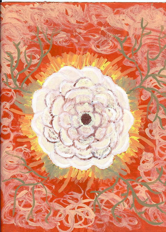Flower Poster featuring the painting Peaches And Cream by Laura Lillo