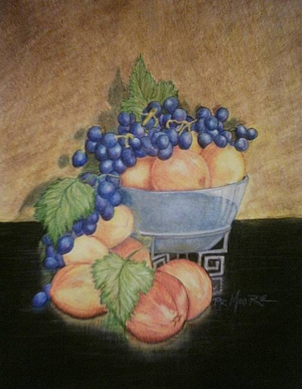 Still Life Poster featuring the drawing Peaches And Grapes by Patricia R Moore