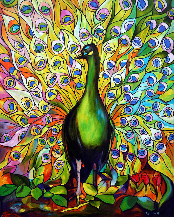 Bird Poster featuring the painting Peacock by Jose Manuel Abraham
