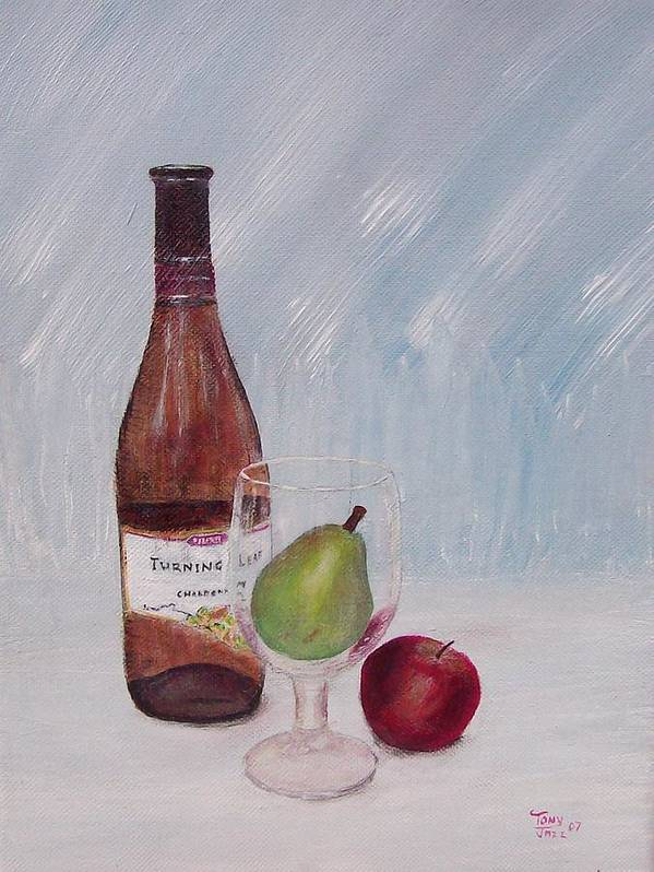 Still Life Poster featuring the painting Pear In Glass by Tony Rodriguez