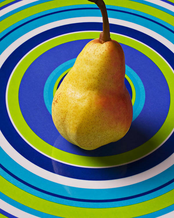 Golden Poster featuring the photograph Pear On Plate With Circles by Garry Gay
