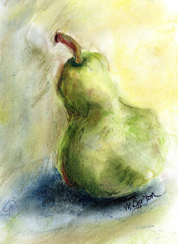 Pear Poster featuring the painting Pear with Flair by Marilyn Barton