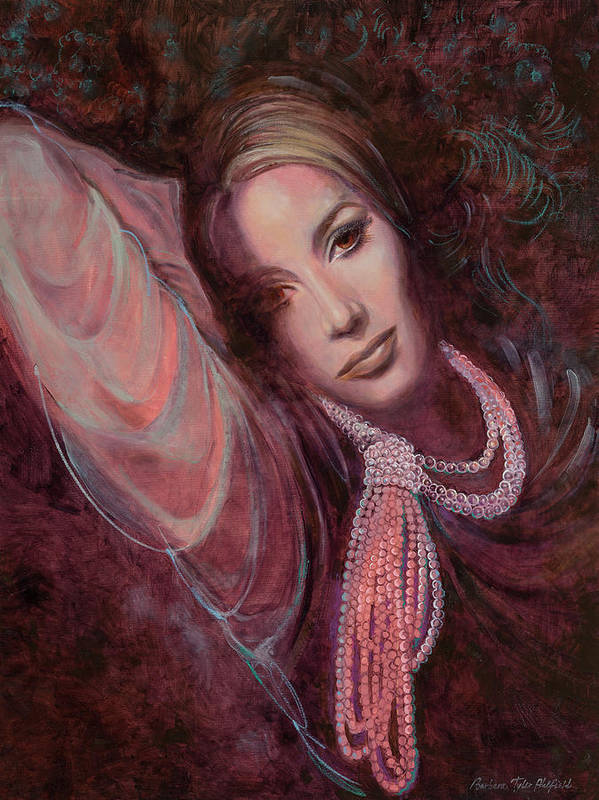Fashion Illustration Poster featuring the painting Pearls on Rorie by Barbara Tyler Ahlfield