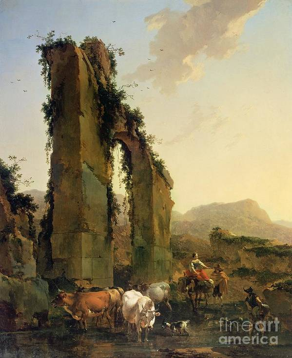 Peasants Poster featuring the painting Peasants With Cattle By A Ruined Aqueduct by Nicolaes Pietersz Berchem