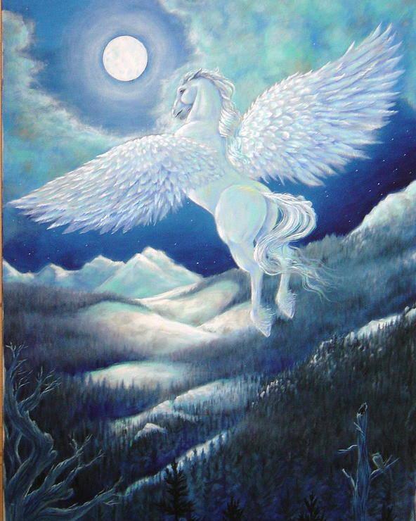 Pegasus Poster featuring the painting Pegasus by Heather Calderon