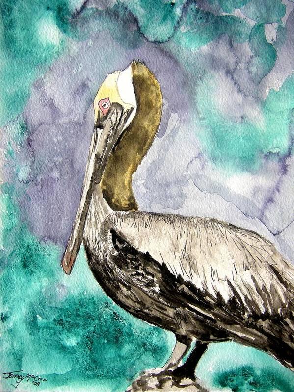 Pelican Poster featuring the painting Pelican by Derek Mccrea