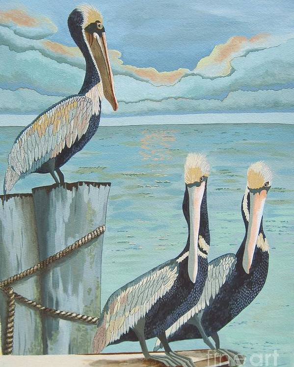 Seascape Poster featuring the painting Pelicans Three by Jennifer Donald