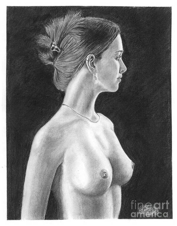 Pencil Drawings Poster featuring the drawing Pencil Drawing Classic Nude Woman Www.olgabell.ca by Olga Bell