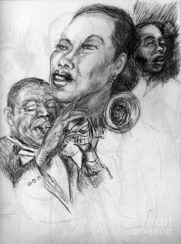 Singer And Musician Poster featuring the drawing pencil study for Satchmo Lady Day and Nina Simone by Patrick Mills