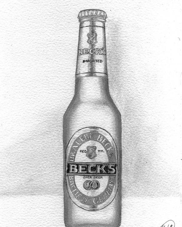Bottle Poster featuring the drawing Pencil Work For My Art School by Alban Dizdari